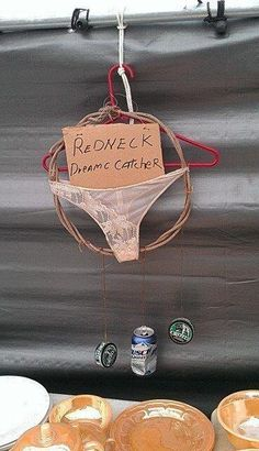 Redneck Dream Catcher - oh my gosh, I HAVE to try this! I know a couple people who are getting these as hilarious gag gifts this year! Redneck Humor, Redneck Gifts, Redneck Boys, Redneck Party Games, Redneck Quotes, Redneck Dream Catchers, Redneck Christmas, Xmas, Christmas Gifts For Uncles