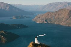 One of my elopement wedding photos from Mt. Roy in Wanaka, New Zealand. We took a helicopter up to the mountain, where our tiny ceremony was held.