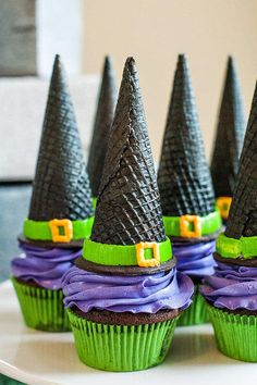 Witch Cone Cupcakes cupcakes witch ice cream cone halloween halloween pictures happy halloween halloween images