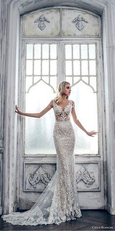 calla blanche spring 2017 bridal sleeveless thick strap sweetheart neckline full embroidered elegant glamorous sheath wedding dress rasor back chapel train (17115) mv