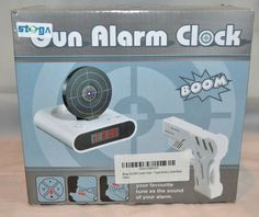Gun Alarm Clock With Infrared target and Realistic Sound Effects - Black
