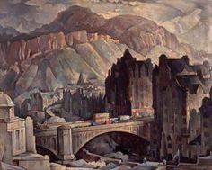 North Bridge and Salisbury Crags, Edinburgh, from the North West, by Adam Bruce Thomson (1885 - 1976).