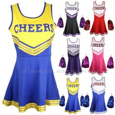 CHEERLEADER FANCY DRESS OUTFIT UNIFORM HIGH SCHOOL MUSICAL COSTUME WITH POM POMS #Dazxzle #AmericanHighSchoolCheerleader