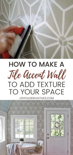 Tile is a beautiful way to add texture and style to your space. This easy tutorial will break it down ste-by-step to make your tile or backsplash project easy! A great option for your kitchen backsplash or to add a creative element to your fireplace. Wall Decor Crafts, Tile Crafts, Said Wallpaper, Designer Wallpaper, Wallpaper Designs, Tile Accent Wall, Diy Interior, Interior Design, Table Setting Inspiration