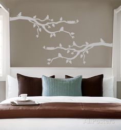 Grey Branch With Birds Autocollant mural - 33€