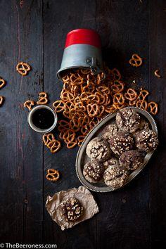 Pretzel Crusted Chocolate Beer Fudge Cookies