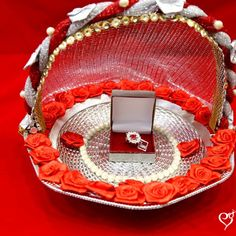 Red Ring Engagement Basket Tray with Ring box for Indian Weddings. Indian Handicrafts - Wedding Shopping Online. Visit our Website to view more designs & Buy your Ring Ceremony Tray Online.