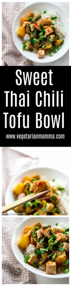 Sweet Thai Chili Tofu Bowls are the perfect balance of sweet and spice! These delicious bowls are great for meal prep! We've talked before about how busy life can be. We have talked about meal prepping and even shared some meal prep ideas such as our Mediterranean Hummus Bowl, our Sweet and Salty Tofu Bowl...