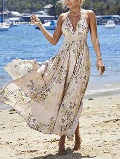 d25da41047f8 Pink Halter Plunge Spaghetti Strap Floral Print Split Maxi Dress