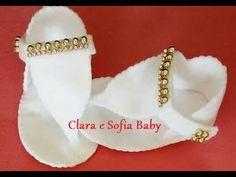 Como fazer chinelo em feltro feito a mão para bebês de colo