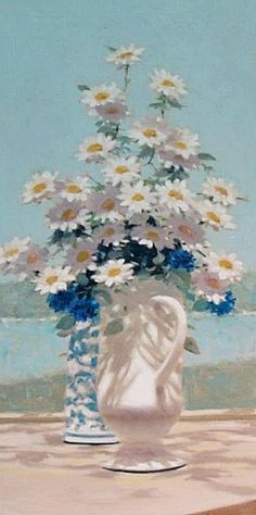 Andre Gisson  Still Life with Daisies by the Seashore  20th century...Splendido!..