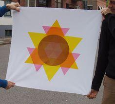 The Sun Star. A piece of screen printed textile art by Hanna Brunskog, Sweden.