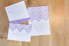 Purple and white wedding invitations // photo by Mad Love Weddings http://theeverylastdetail.com/2013/09/23/purple-and-gray-boho-chic-beach-wedding/