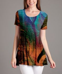 This Orange & Turquoise Abstract Pleat-Front Tunic - Plus Too is perfect! #zulilyfinds