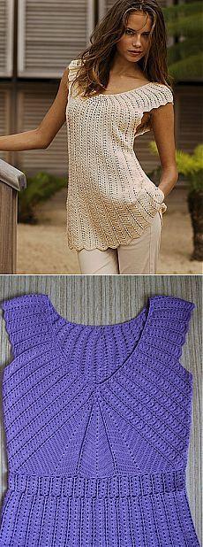 Платье или туника, связанные от кокетки. Crochet Cardigan, Knit Crochet, Shirts, Taylors, Knitting, Casual, Crocheting, Fabric, Pattern