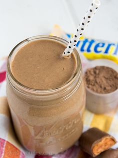Butterfinger Protein Shake.1 cup milk (any kind will work) 1/2 or 1 cup cold water 1 cup ice cubes 1 scoop chocolate protein powder 1 (large) tbsp peanut butter 1 tbsp sugar free Butterscotch instant pudding mix