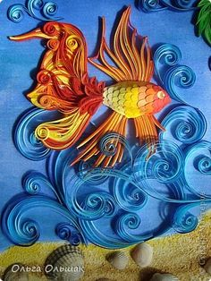 Quilling on a Painting by Olga Olsiak  (082111)  This is a detail from a larger picture commemorating a vacation by the sea; click through to see the lovely quilling of palms.