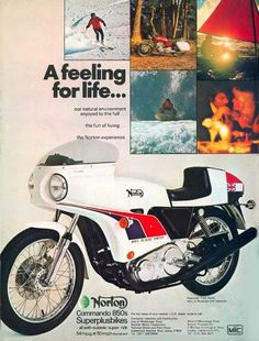 Gorgeous 1974 Norton Commando with JPS white livery in this american ad. It shows what life is in the end: skiing touring with your Norton sailing surfing and dating a charming blonde. Norton Motorcycle, Motorcycle Posters, Motorcycle Style, British Motorcycles, Vintage Motorcycles, Wolverhampton, Old School Art, Norton Cafe Racer, Norton Commando