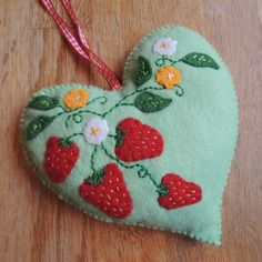 Strawberries and Flowers Felt Heart - not available to see in the esty shop, but still great inspiration