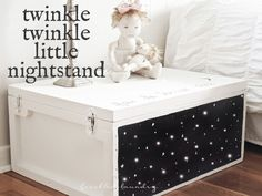I repurposed a $3 yard sale wooden box into a twinkling nightstand for my daughter's room using paint, a drill, and LED lights inserted into the holes. You coul…