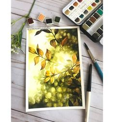 Watercolor Art Lessons, Watercolor Landscape Paintings, Nature Paintings, Watercolour, Fast Drawing, Cute Fall Wallpaper, Mandala Art Lesson, Doodle Art Designs, Guache