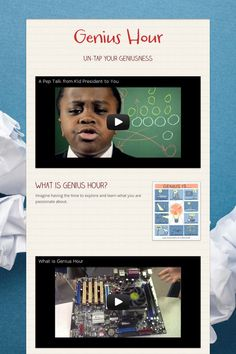 EXCELLENT website to explain step by step genius hour. Genius Hour -- video explains what it is Problem Based Learning, Inquiry Based Learning, Project Based Learning, Genious Hour, What Is Genius, Kid President, President Quotes, Middle School Ela, High School
