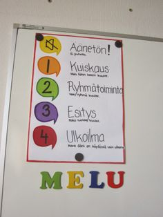 Sallittu melutaso ja liiasta melusta huomauttaminen. Classroom Rules, Classroom Behavior, School Classroom, Classroom Management, Teaching Aids, Teaching Kindergarten, Beginning Of School, Pre School, Childhood Education