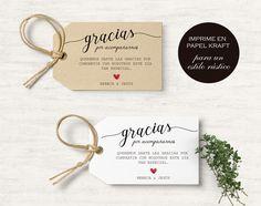 Etiquetas regalos invitados. Adorna los regalos de tus invitados para tu boda con estas etiquetas imprimibles. Etiquetas kraft para regalos.