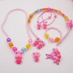 Cukierki Kolor Dzieci Robbit Zestaw Biżuterii Symulowane Pearl Dziewczyna Dzieci Dziecko Odcinek akcesoria Zestaw Naszyjnik Bransoletka Pierścień Włosów