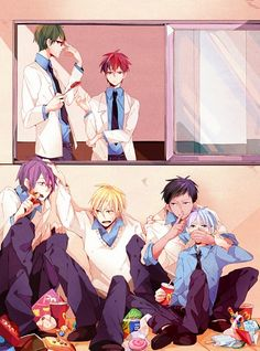 Aha~ Looks like the troublemakers stole away Kuroko and are hiding from the serious ones of the Kiseki! XD I love how Kise's pushing Murasakibara's head down, that titan. >w
