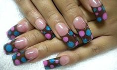 I am unfolding before you 15 + cute polka dot French nail art designs, ideas & trends of You are not restricted to few nail colors rather polka dots can be made in any subtle and flamboyant colors. Brown Acrylic Nails, Acrylic Nail Art, Brown Nails, Nail Art Designs, Nail Polish Designs, Nails Design, Dot Nail Art, Polka Dot Nails, Polka Dots