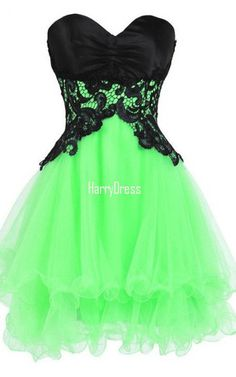Green Sleeveless Sweetheart Mini Organza Princess Appliques Lace Strapless Short Homecoming Dress
