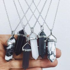Wheretoget - Crystal stone pendant necklaces in black & white
