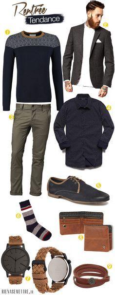Adoptez notre look de la rentrée, Look Preppy chic pour Homme 2014 : Blazer en Tweed, Chino gris, Montre en cuir, Chemise bleue à pois... Découvrir