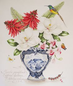 Magnolias, Erythrina flowers and Phalaenopsis orchid in a Delft pot, with Orange Breasted Sunbird. Original painting by Kelly Higgs