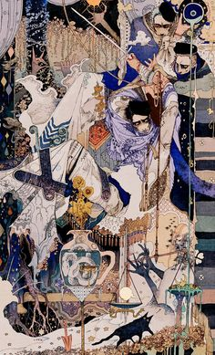"""Akiya Kageichi - The Incredible Illustrations of Flame.Take a look at the astounding illustrations by Japanese artist """"Flame."""" These works honorably show their respect to early Century illustrator Harry Clarke. Art Inspo, Kunst Inspo, Art And Illustration, Art Illustrations, Arte Complexa, Drawn Art, Art Asiatique, Art Japonais, Fantasy Kunst"""