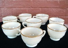 Anchor Hocking Milk Glass 8 Ivory 22 Karat Gold Trim Sandwich 6 ounce Punch Cups #AnchorHockingGlass