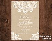 Printable Rustic Doily Lace Bridal Shower Invitation  I like this but with a light pink background