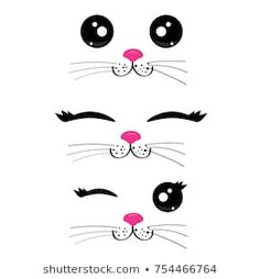 Funny Cat Faces Vector Vector de stock (libre de regalías)754466764; Shutterstock
