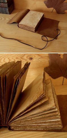Leather Journal or Notebook Brown Antiqued Leather by TeoStudio, $55.00