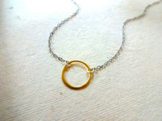 Handmade 14k Gold Fill Circle Pendant and Oxidized Sterling Silver / 925 Sterling / 14k Rose Gold Fill and 14 k Gold Fill chain