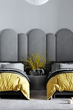 Kids Bedroom Grey Based Neoclassical Interior Design With Muted & Metallic Accents Contemporary Bedroom, Modern Bedroom, Bedroom Decor, Bedroom Ideas, Bedroom Green, Indie Bedroom, Narrow Bedroom, Bedroom Rugs, Bedroom Black