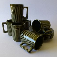 Vintage Ellgreave Pottery Tiko Set of 6 Coffee Cups and Saucers, Made in England, 1960, Mid Century, Olive Green