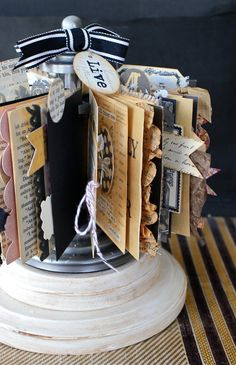 this is a nice alternative to scrapbooking. it could be on an end table and people would be more likely to look through it.