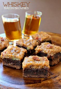 Chewy brownies with a whiskey bacon topping - perfect for Dad!