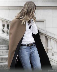 Paris Fashion Week, cape, faded denim, white button down, belt / Garance Doré