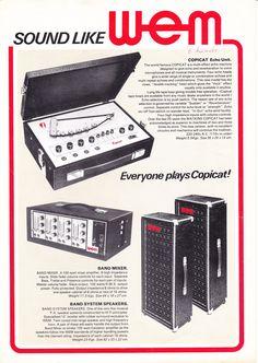 成毛滋さんが、最初にWEMを日本に持ち込んだ・・・。それを借りて、京王技研(KORG)が調査していたという時期がありました。 Tape Echo, Valve Amplifier, Audio, Final Cut Pro, Studio Gear, Music Images, Music Production, Pedalboard, Guitar Pedals