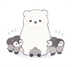 Polar bear and penguins cute animals, wattpad, fictional characters, art, p Kawaii Doodles, Cute Kawaii Drawings, Cute Animal Drawings, Pinguin Illustration, Cute Illustration, Polar Bear Illustration, Arte Do Kawaii, Kawaii Art, Pinguin Drawing