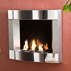 @Overstock - Wall-mount fireplace~ cool idea~