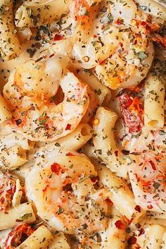 Sun Dried Tomato Pasta with Shrimp and creamy Mozzarella sauce. Italian pasta recipe. Gluten free pasta.